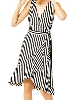 Warehouse Stripe Wrap Dress, Multi