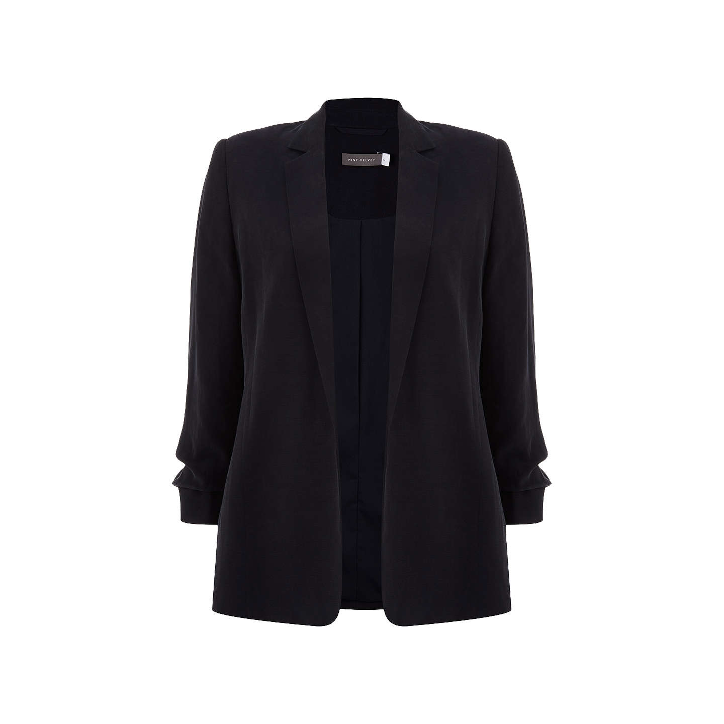 BuyMint Velvet Ruched Sleeve Blazer, Ink, 6 Online at johnlewis.com