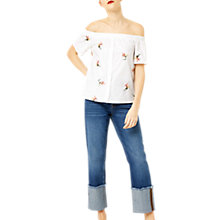 Buy Warehouse Embroidered Bardot Top Online at johnlewis.com