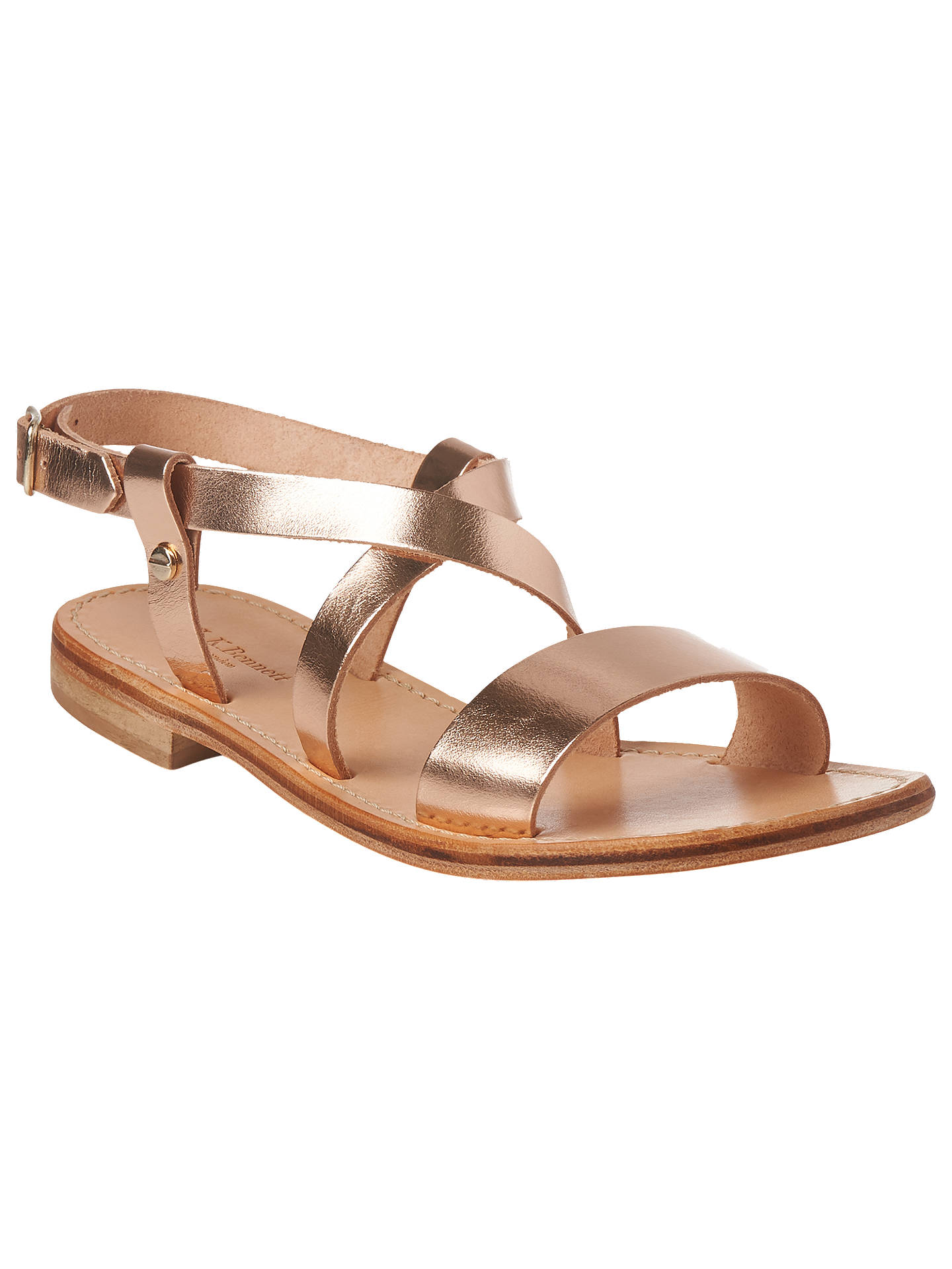 BuyL.K.Bennett Hemera Flat Sandals, Rose Gold Leather, 9 Online at johnlewis.com