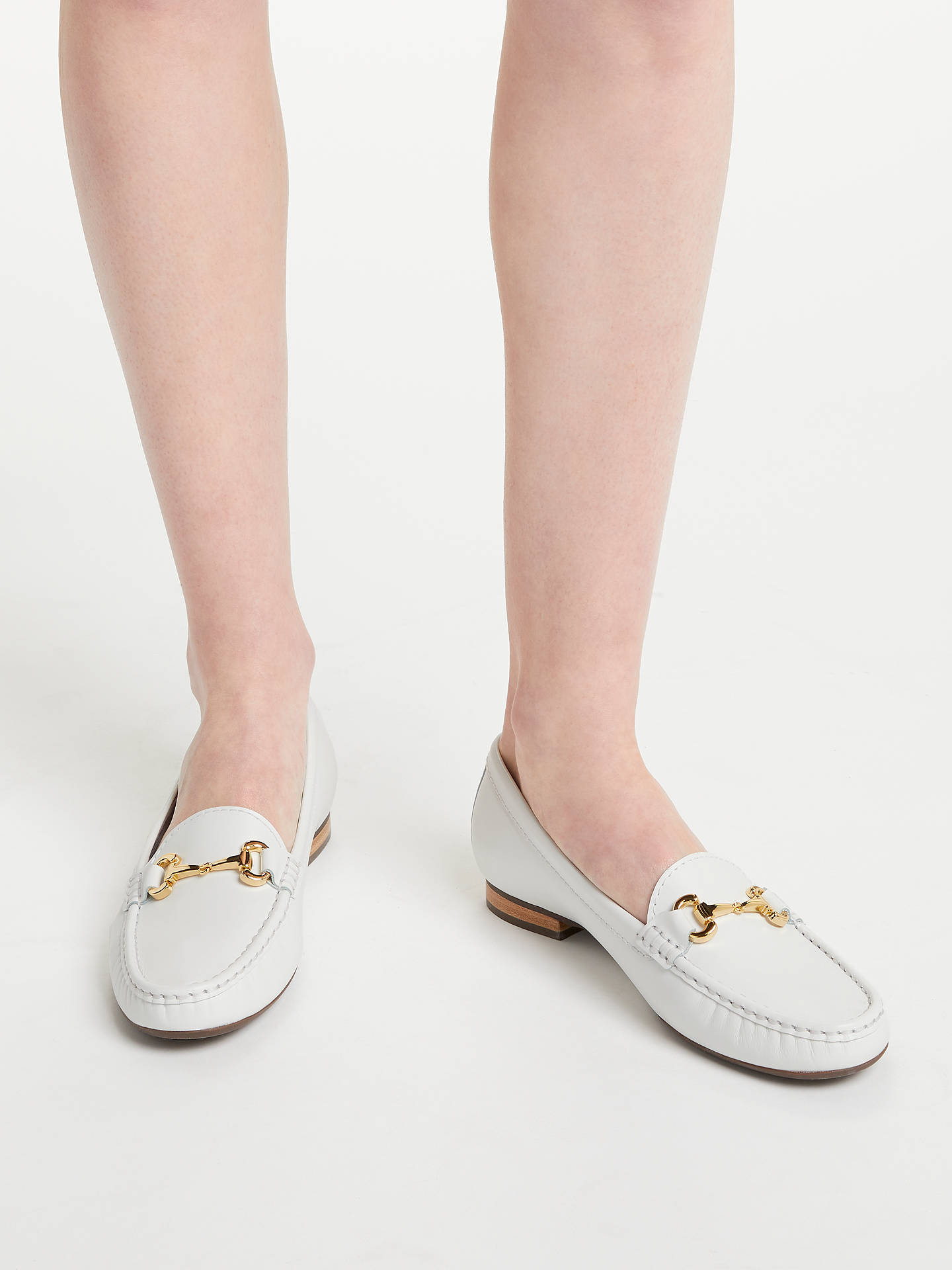 Buy John Lewis & Partners G Austin Block Heeled Loafers, White Nubuck, 3 Online at johnlewis.com