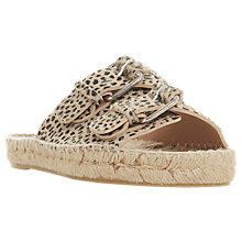 Buy Dune Black Luso Double Buckle Espadrille Slip On Sandals, Leopard Print Online at johnlewis.com