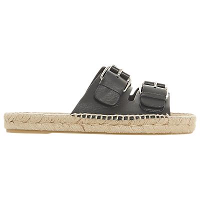 Dune Black Luso Double Buckle Espadrille Slip On Sandals, Black