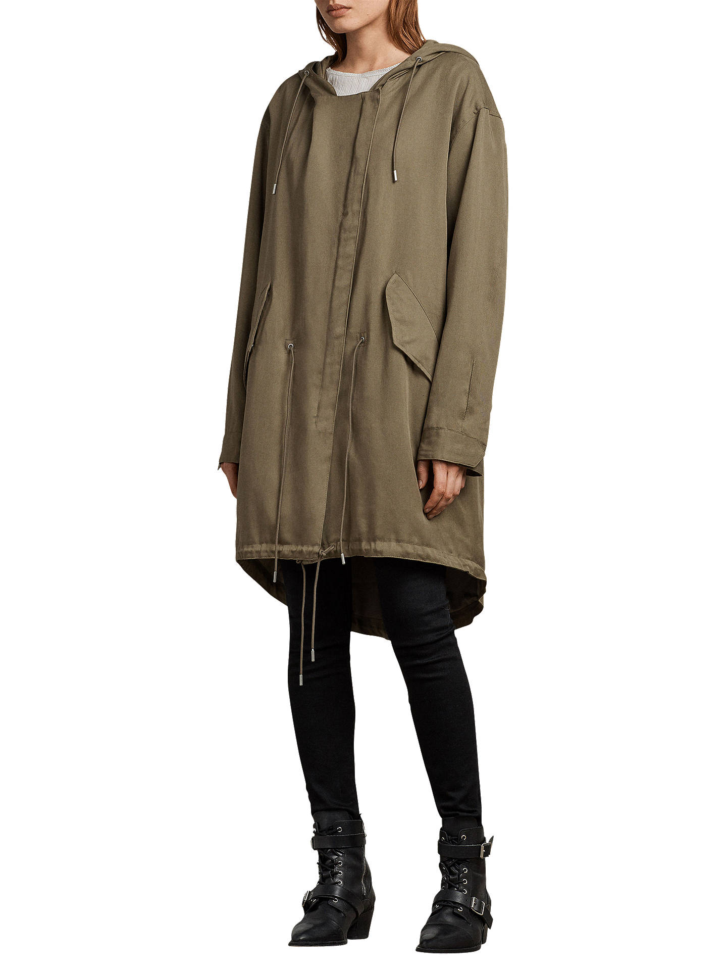 Buy AllSaints Cody Parka Raincoat, Sage Green, XS Online at johnlewis.com