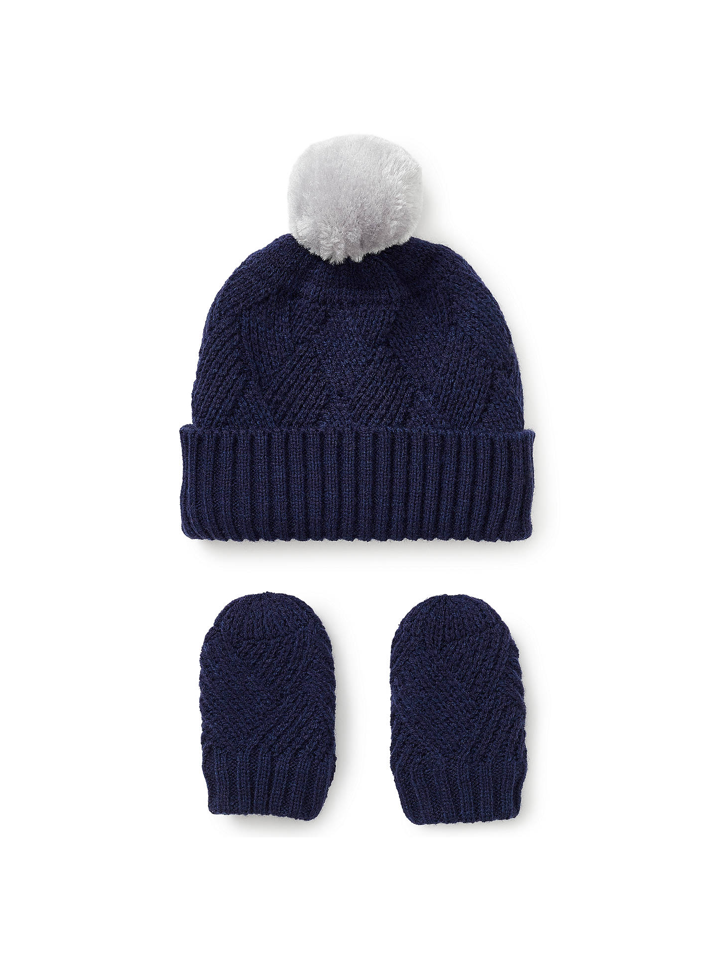 BuyJohn Lewis   Partners Baby Cross Knit Hat and Mittens Set 74a33085104b