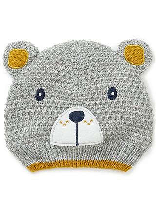 00a69bda2 John Lewis & Partners Baby Textured Bear Hat, Grey at John Lewis ...
