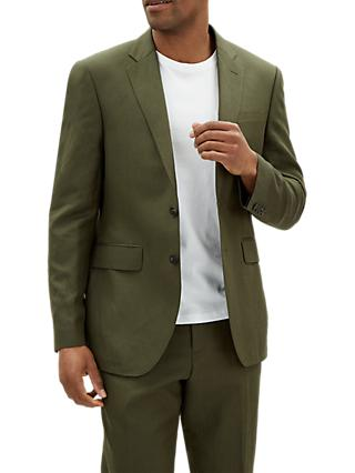 Jaeger Silk Linen Regular Fit Suit Jacket, Khaki