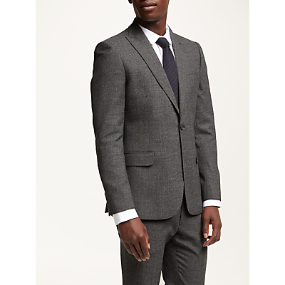 Kin Salt and Pepper Check Slim Fit Suit Jacket, Charcoal
