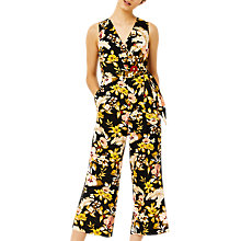 Buy Warehouse Hibiscus Jumpsuit, Black Online at johnlewis.com