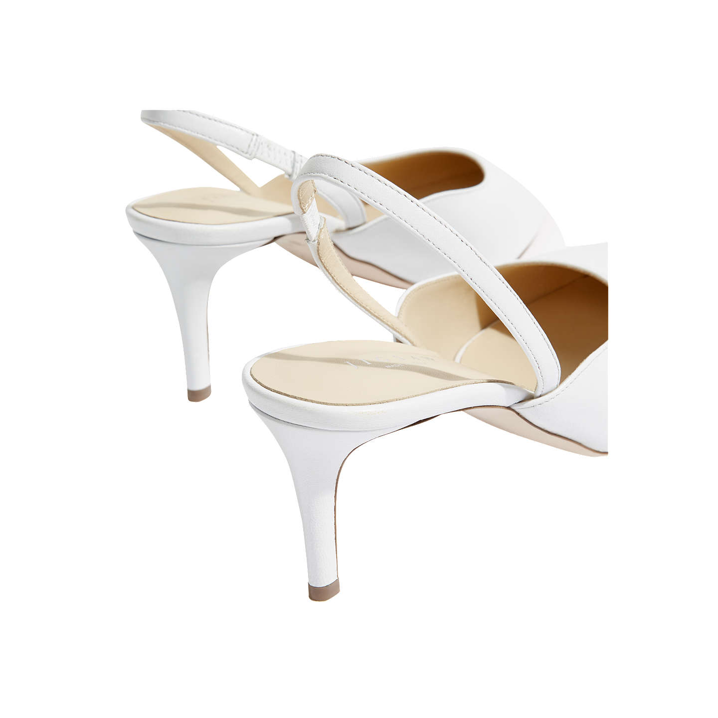 BuyJigsaw Neze Slingback Court Shoes, White Leather, 5 Online at johnlewis.com