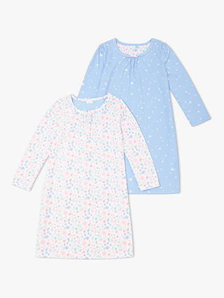 Buy John Lewis & Partners Girls' Folky Floral Night Dress, Pack of 2, White/Blue, 2 years Online at johnlewis.com
