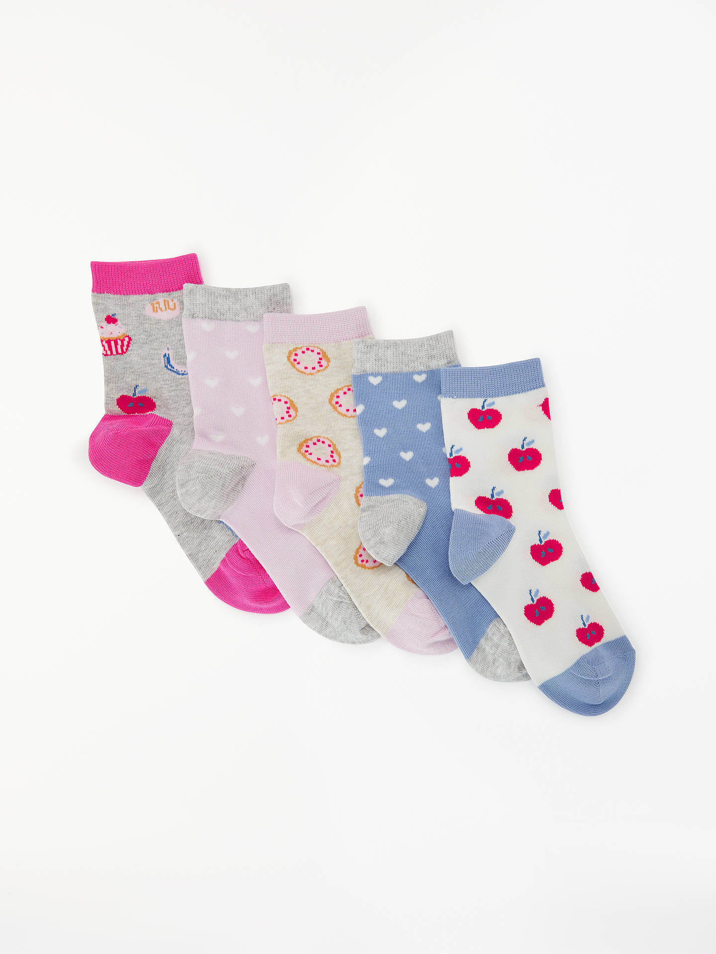 BuyJohn Lewis & Partners Girls' Snack Time Socks, Pack of 5, Multi, 6-8.5 Jnr Online at johnlewis.com