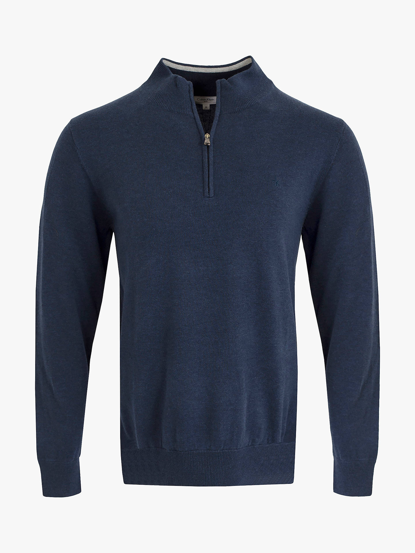 BuyCalvin Klein Golf Heather Half-Zip Sweatshirt, Denim, S Online at johnlewis.com