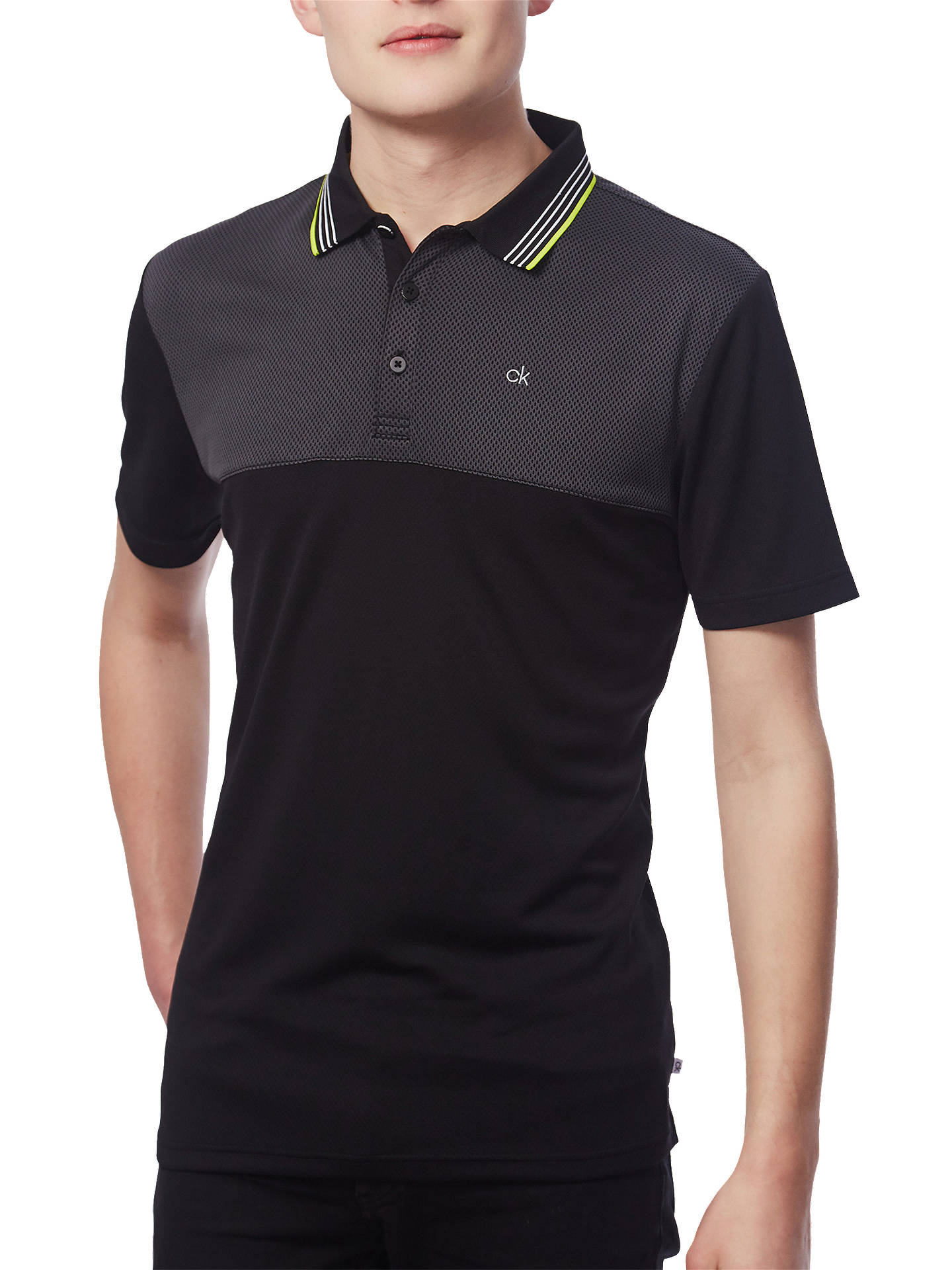 ed9cabd1 Buy Calvin Klein Golf 39th Street Polo Shirt, Black/Lime, S Online at ...