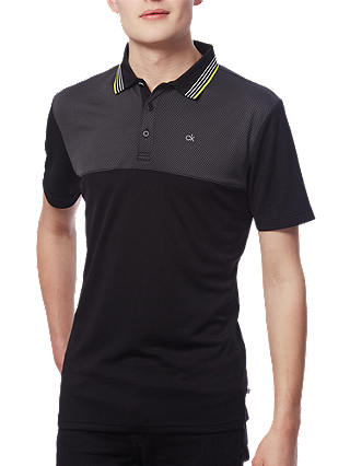 Buy Calvin Klein Golf 39th Street Polo Shirt, Black/Lime, S Online at johnlewis.com
