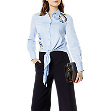Buy Karen Millen Floral Embroidered Shirt, Blue/Multi Online at johnlewis.com