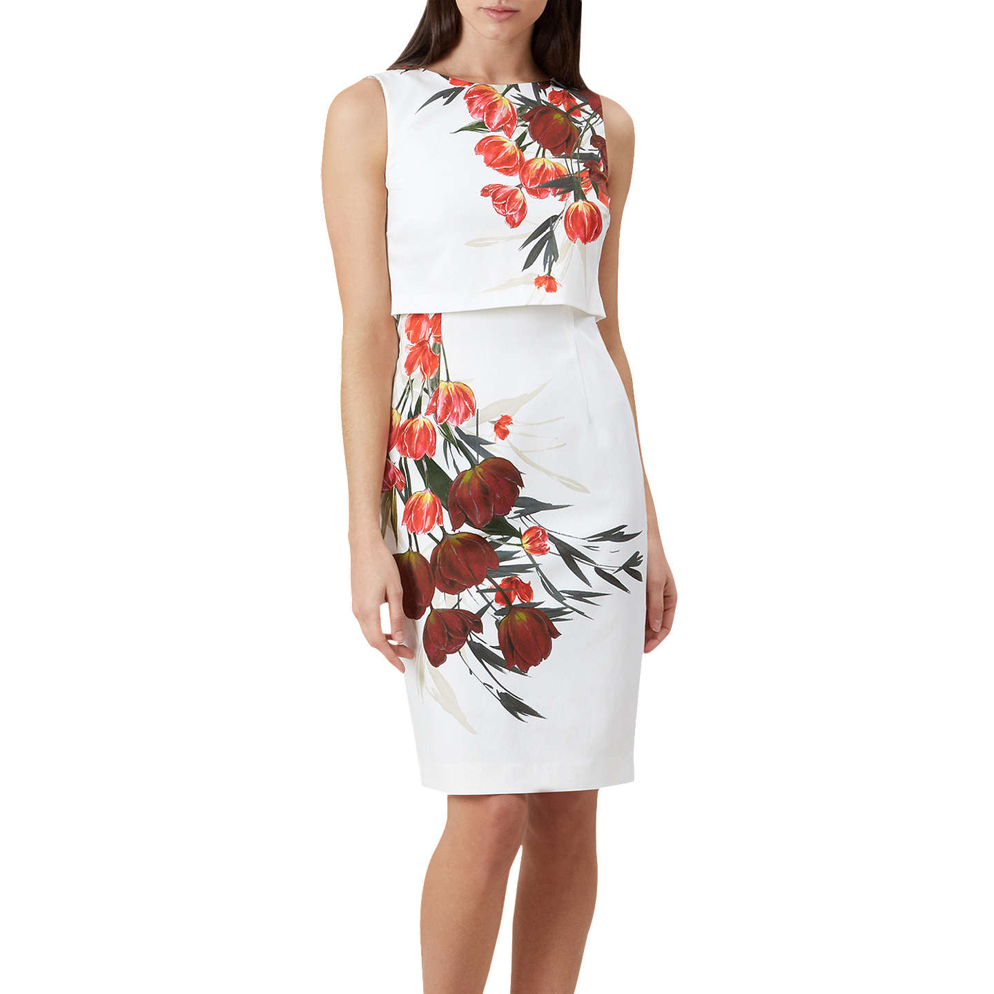 Hobbs Bree Floral Print Dress, Ivory/Multi by Hobbs
