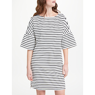 Finery Anne Striped Interlock Jersey Frill Sleeve Dress, Multi