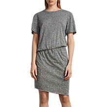 Buy AllSaints Nandi Flame Dress, Cinder Black Marl Online at johnlewis.com