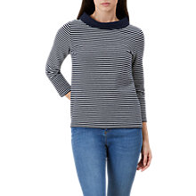Buy Hobbs Coleta Striped Top, Navy/Ivory Online at johnlewis.com