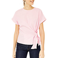 Buy Warehouse Stripe Side Tie Top, Pink Online at johnlewis.com