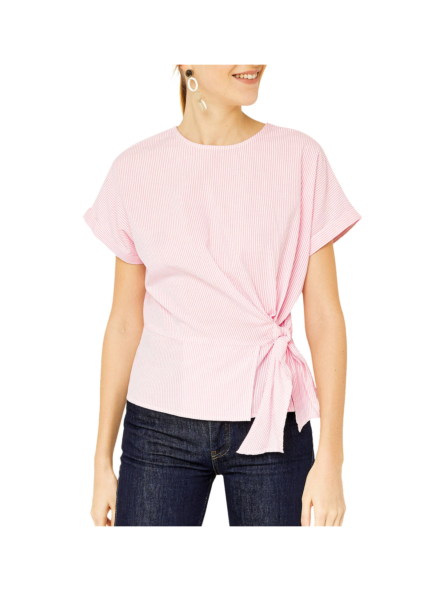 b9b123d72 Buy Warehouse Stripe Side Tie Top, Pink, 6 Online at johnlewis.com ...