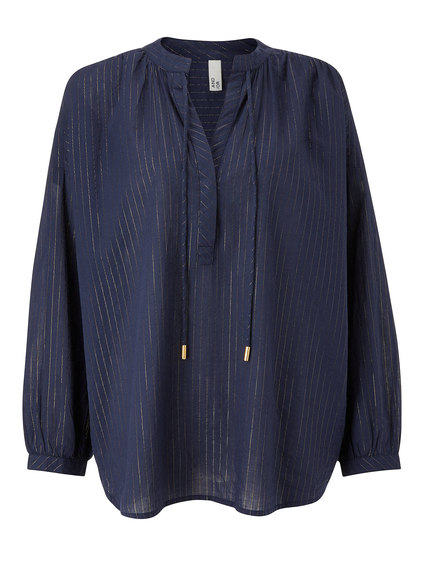 Buy AND/OR Pipa Lurex Stripe Top, Blue/Gold, S Online at johnlewis.com