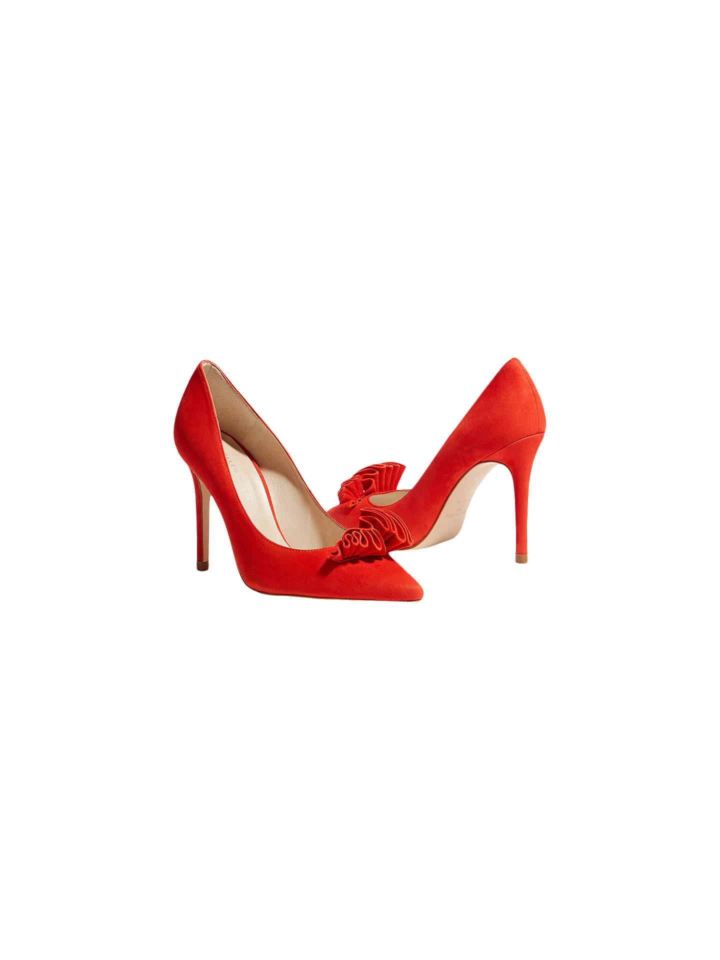 5f24a88e2c9 Karen Millen Stiletto Heel Frill Court Shoes, Red Suede at John ...