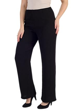 Chesca Ribbed Jacquard Trousers, Black