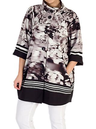 Chesca Striped Border Floral Coat, Black/Ivory