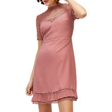 Buy Warehouse Crepe Lace Dress, Pink Online at johnlewis.com