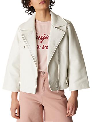 Whistles Wide Sleeve Leather Jacket, White