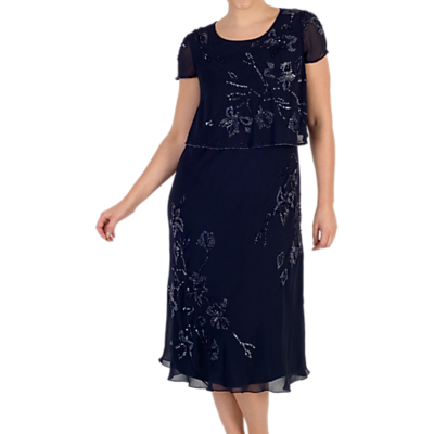 Chesca Embroidered Layer Dress, Navy