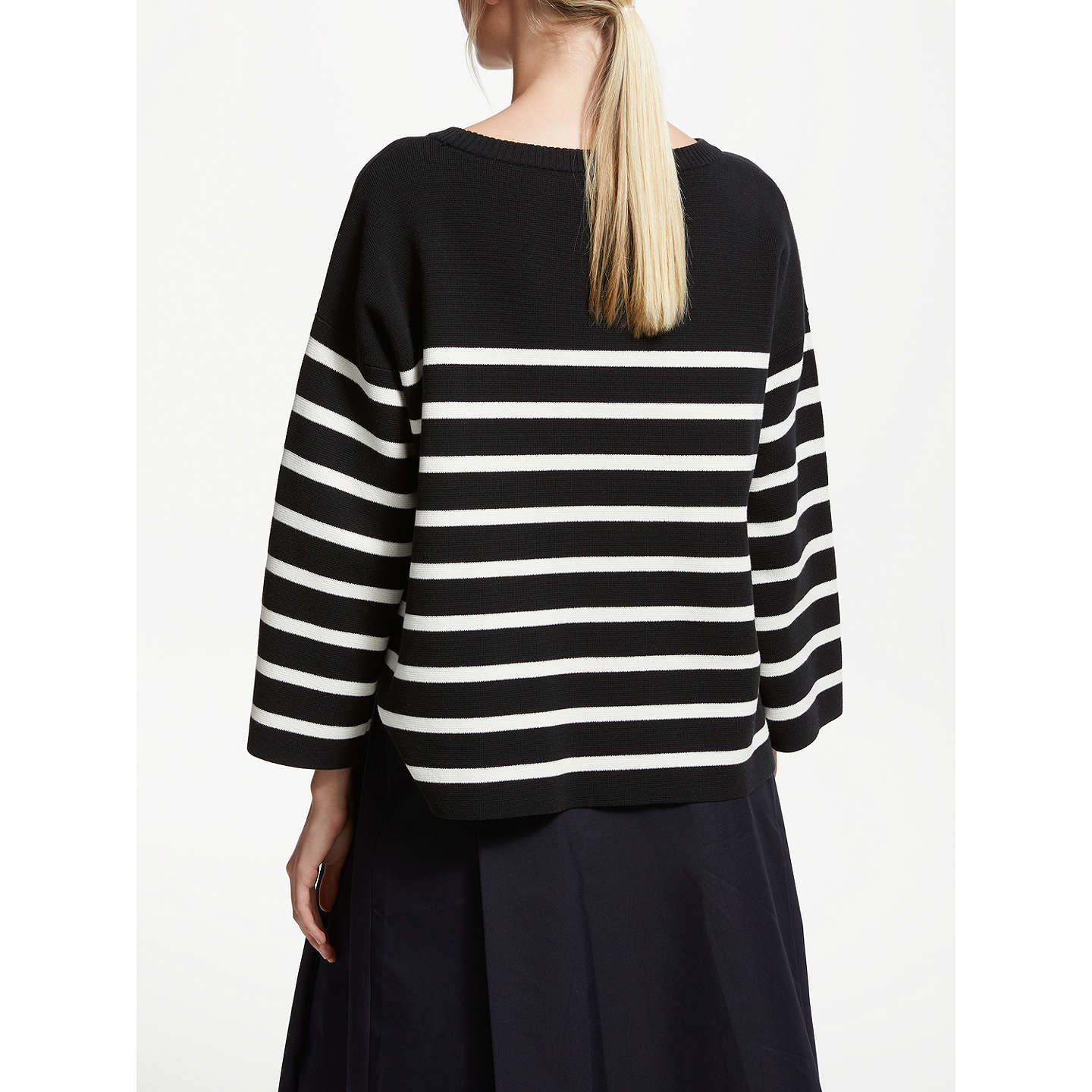 BuyKin by John Lewis Milano Cotton Boat Neck Jumper, Black, S Online at johnlewis.com
