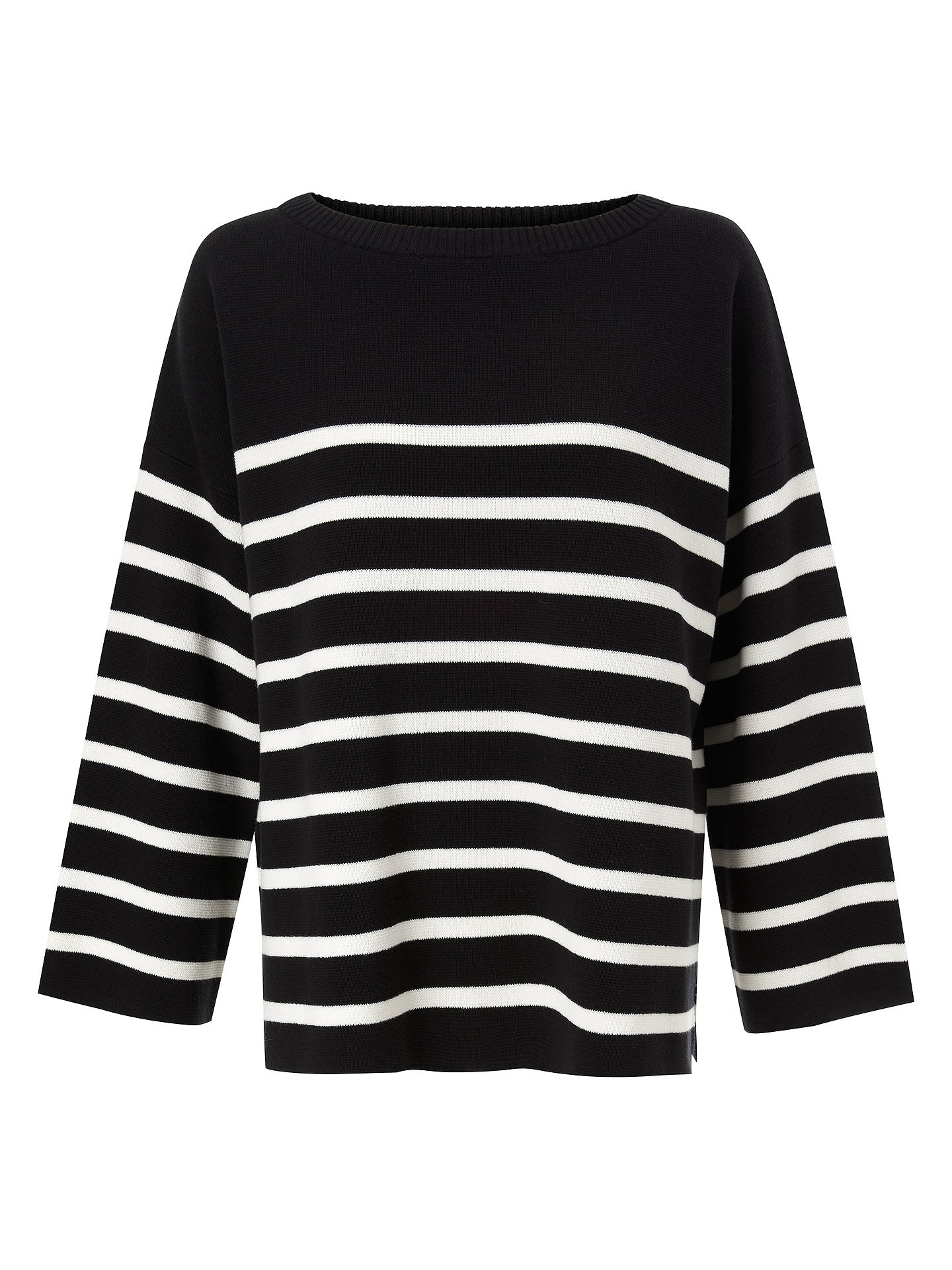 BuyKin Milano Cotton Boat Neck Jumper, Black, S Online at johnlewis.com