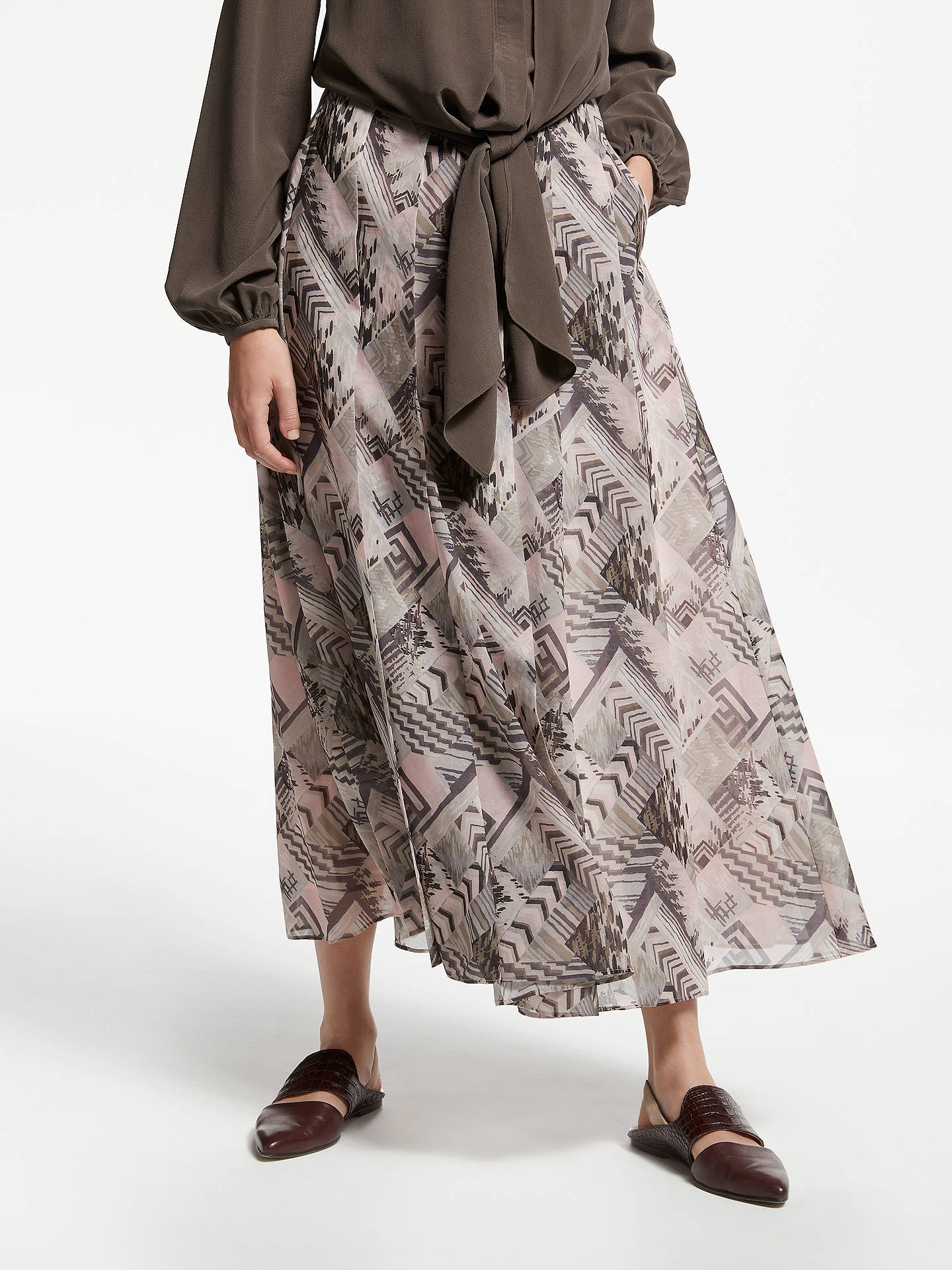 buymodern rarity archive print box pleat midi skirt multi 8 online at johnlewis