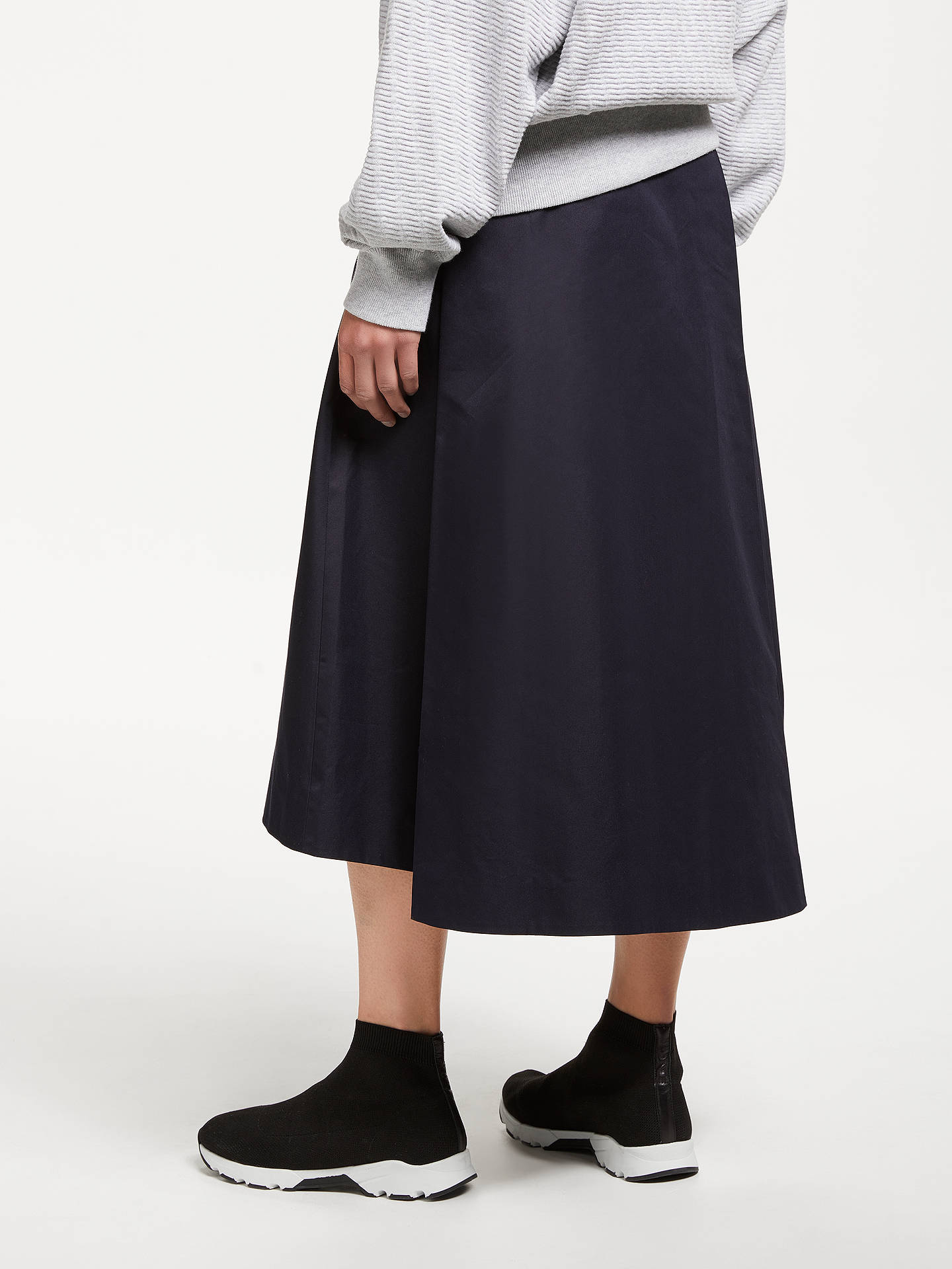 BuyKin Side Tab A-Line Midi Skirt, Navy, 8 Online at johnlewis.com