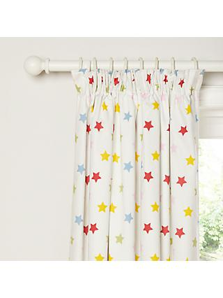 little home at John Lewis Stars Pencil Pleat Blackout Lined Children's Curtains, Multi