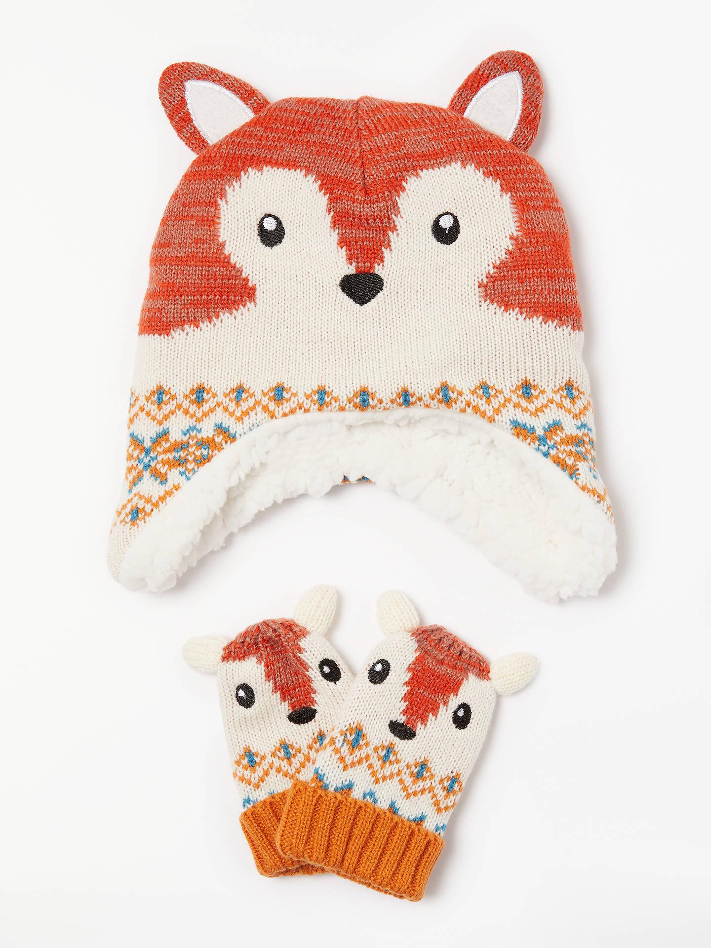 John Lewis   Partners Baby Fairisle Fox Hat and Mitt Set 0d6bba4114e