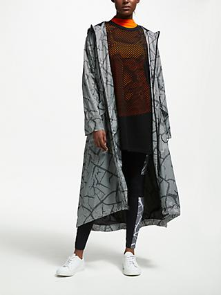PATTERNITY + John Lewis Crackle Print Longline Parka, Black/White