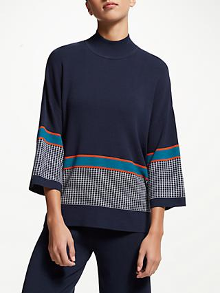 PATTERNITY + John Lewis Funnel Neck Textured Jumper, Navy/Tango