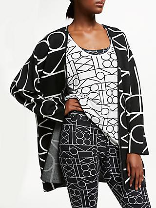 PATTERNITY + John Lewis Outline Intarsia Kimono Cardigan, Black/White