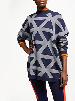 PATTERNITY + John Lewis Triangle Intarsia Jumper, Navy/White