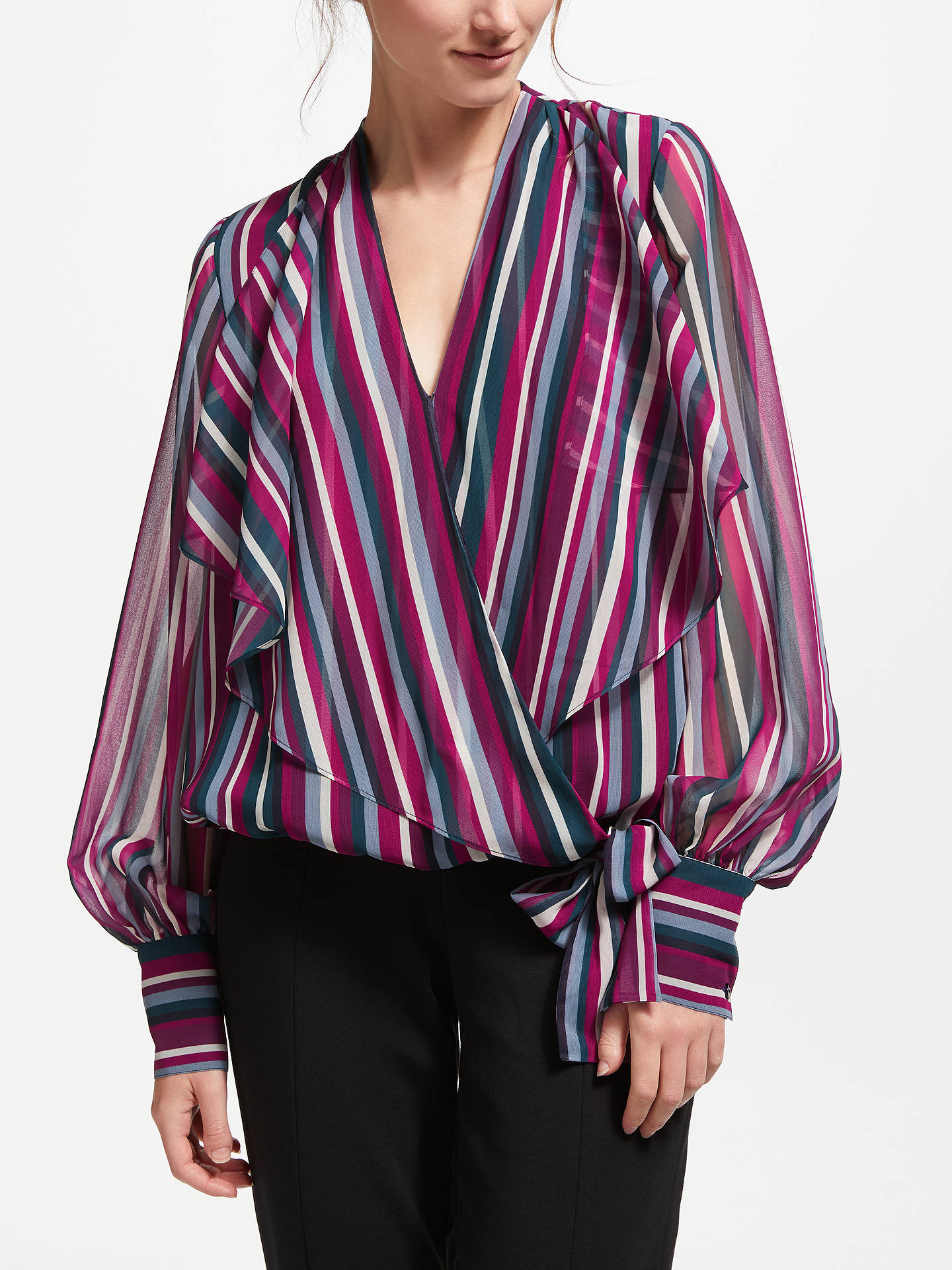 BuyBruce by Bruce Oldfield Stripe Wrap Over Tie Waist Blouse, Multi, 8 Online at johnlewis.com