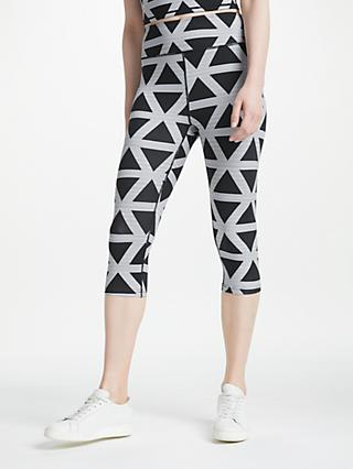 PATTERNITY + John Lewis Triangle Print Cropped Leggings, Black/White