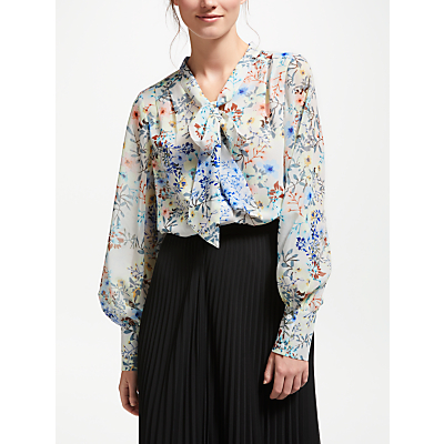 Bruce by Bruce Oldfield Printed Tie Blouse, Ivory Print
