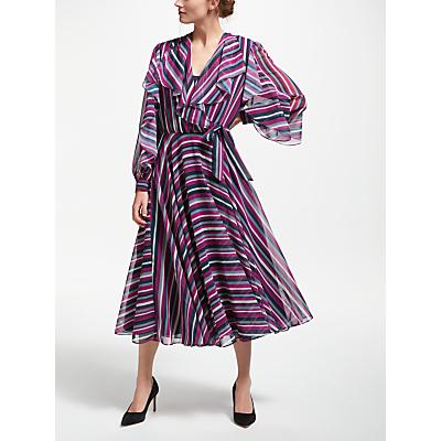 Bruce by Bruce Oldfield Multi Stripe Dress, Navy Print