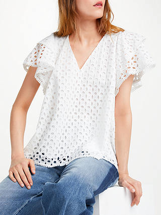 Buy Somerset by Alice Temperley Broderie Top, White, 18 Online at johnlewis.com