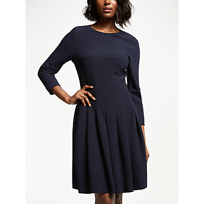 Bruce by Bruce Oldfield Long Sleeve Pleated Dress, Navy