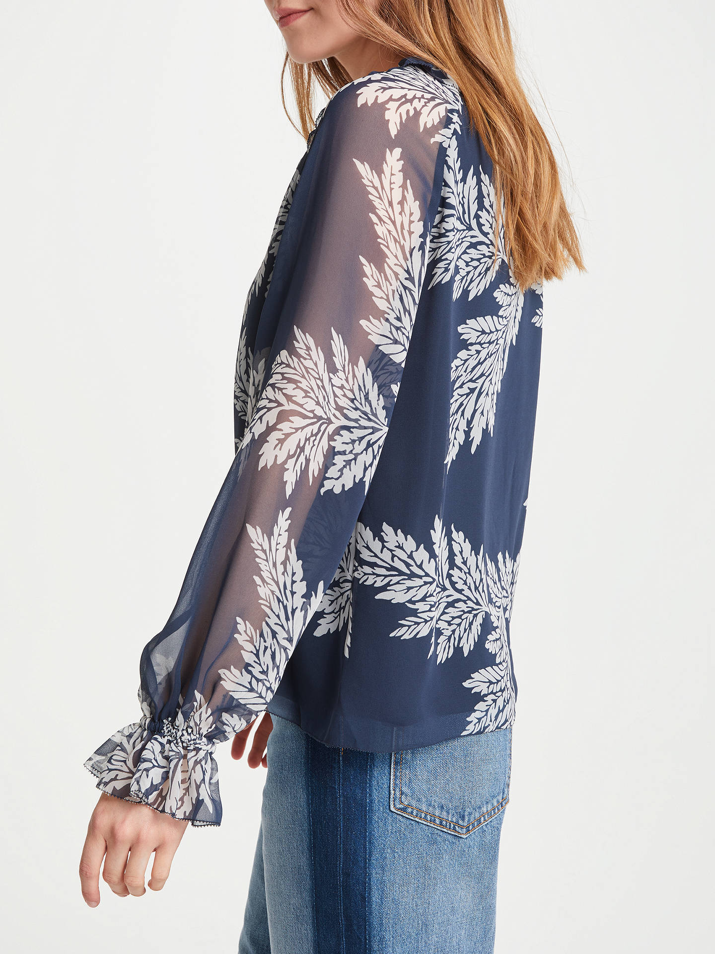 Buy Somerset by Alice Temperley Palm Leaf Tie Neck Top, Navy, 8 Online at johnlewis.com